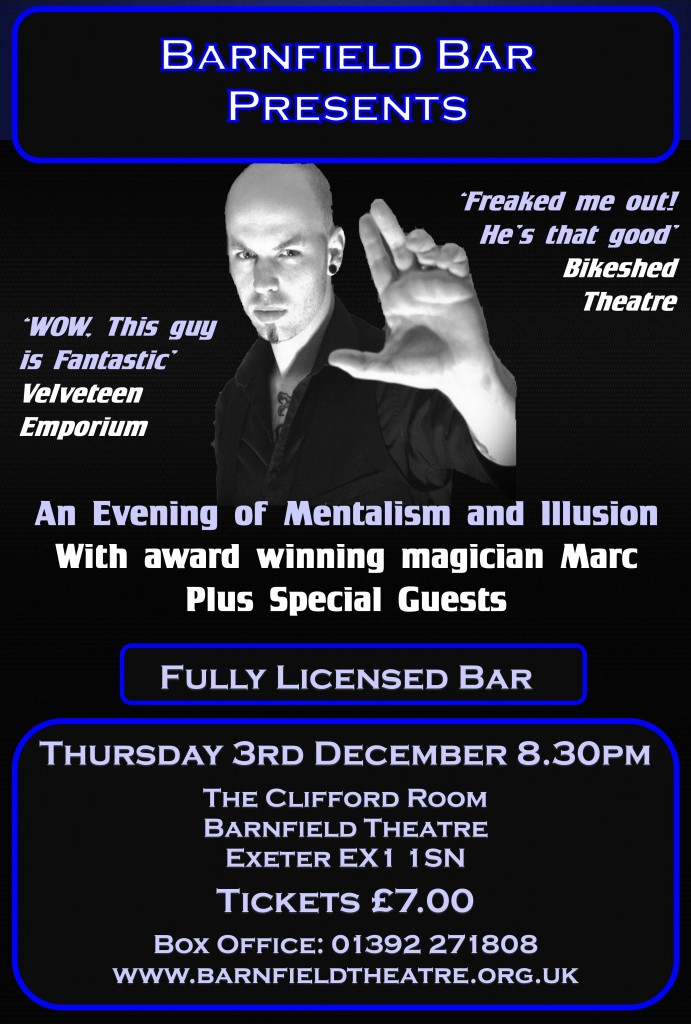 Barnfield Bar Presents… An Evening of Mentalism and Illusion